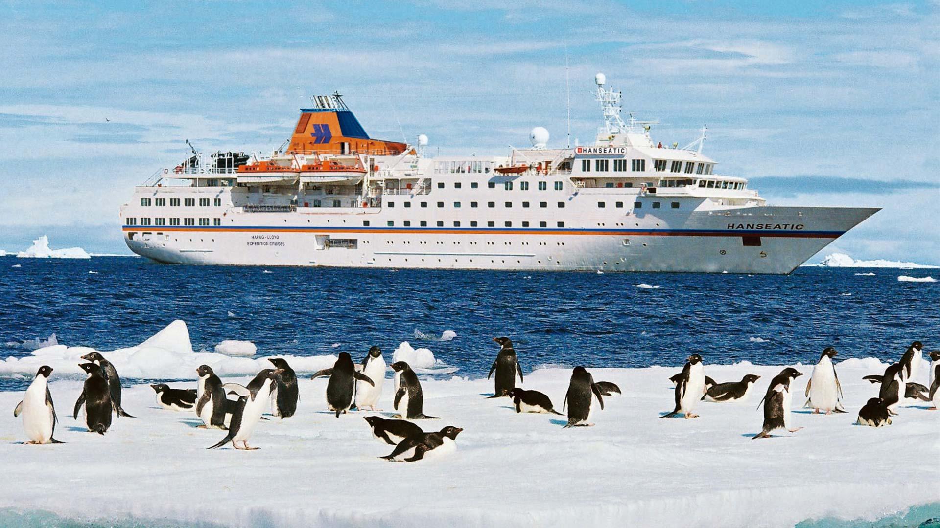 Die MS HANSEATIC bei den Pinguinen in der Antarktis. © HLKF