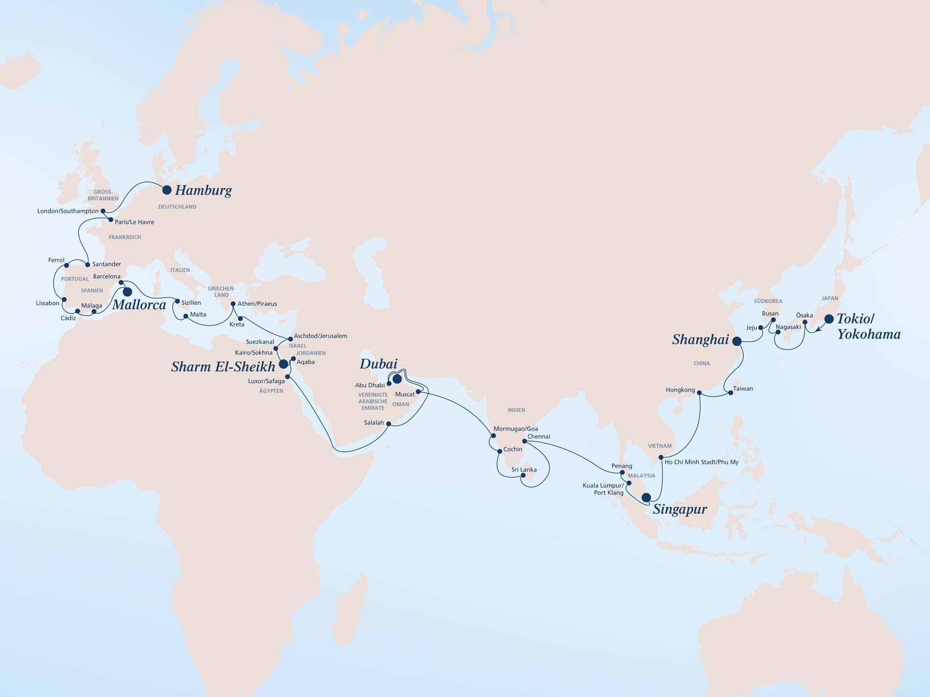 Die Route, die ursprünglich für die AIDAprima geplant war. © AIDA Cruises